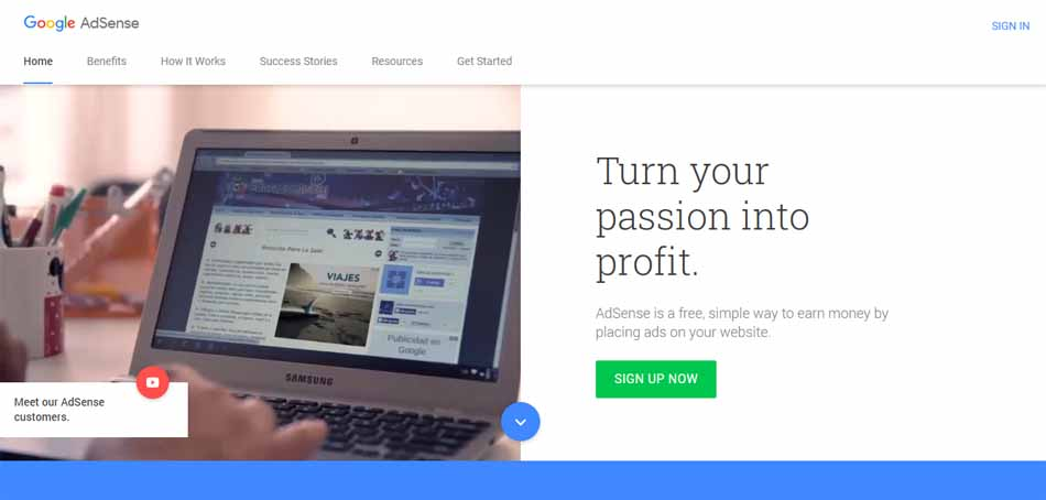 sign up google adsense preview